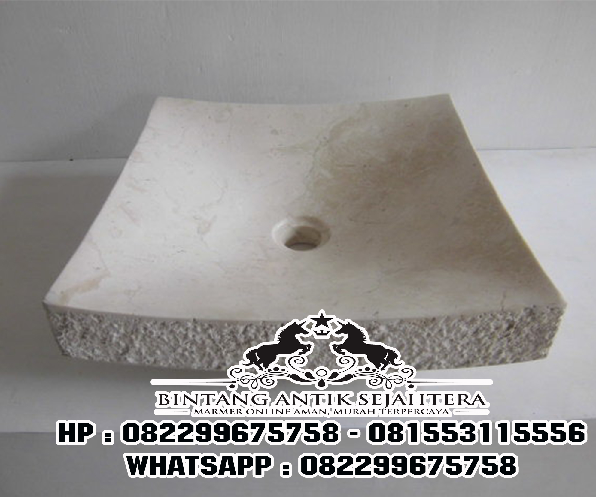 Wastafel Batu Marmer | Wastafel Marmer Persegi Panjang