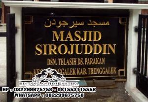 Jual Nameboard Masjid Granit Hitam, Harga Nameboard Granit Per Meter